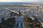 View from Eiffel Tower, the Palais de Chaillot and Jardin du Trocadero, Paris, France