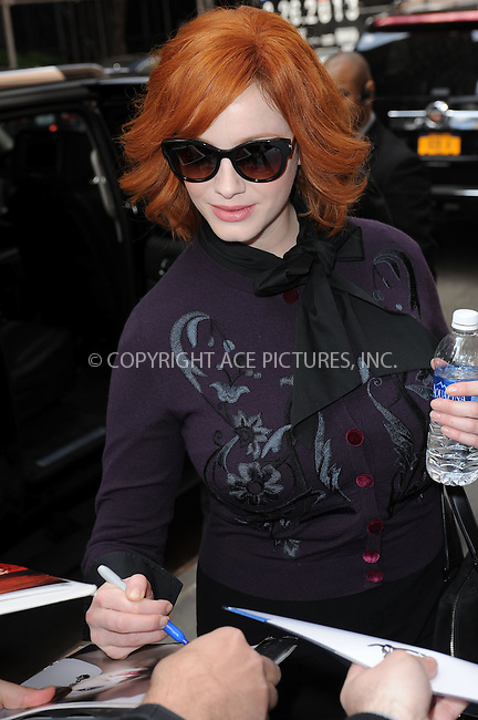 WWW.ACEPIXS.COM . . . . . .April 22, 2013...New York City....Christina Hendricks leaving a taping of the Katie Couric Show on April 22, 2013 in New York City. ....Please byline: KRISTIN CALLAHAN - WWW.ACEPIXS.COM.. . . . . . ..Ace Pictures, Inc: ..tel: (212) 243 8787 or (646) 769 0430..e-mail: info@acepixs.com..web: http://www.acepixs.com .