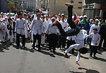Palestinians take part in a traditional  parade in the streets of the West Bank city of Ramallah on March 21, 2009 to celebrate Jerusalem's designation as the 2009 'capital of Arab culture'. Celebrations in the West Bank were held after Israel banned such activity in the disputed Holy City. The Palestinian Authority had organised cultural activities in annexed, mostly Arab east Jerusalem to celebrate the city's proclamation as this year's capital of Arab culture after Damascus, which held the title in 2008. APAimages\Issam Rimawi