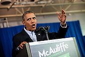 United States President Barack Obama delivers remarks at a Terry McAuliffe campaign event at Washington-Lee High School, Arlington, Virginia, U.S., on Sunday, November 3, 2013. McAuliffe is the Democratic nominee in the 2013 Virginia gubernatorial election. <br /> Credit: Pete Marovich / Pool via CNP