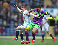 Blackburn Rovers Harrison Reed in action with Bristol City's Marlon Pack<br /> <br /> Photographer Mick Walker/CameraSport<br /> <br /> The EFL Sky Bet Championship - Blackburn Rovers v Bristol City - Saturday 9th February 2019 - Ewood Park - Blackburn<br /> <br /> World Copyright &copy; 2019 CameraSport. All rights reserved. 43 Linden Ave. Countesthorpe. Leicester. England. LE8 5PG - Tel: +44 (0) 116 277 4147 - admin@camerasport.com - www.camerasport.com