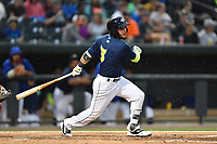 Designated hitter Michael Baez (3) of the Columbia Fireflies bats in a game against the Lakewood BlueClaws on Saturday, May 6, 2017, at Spirit Communications Park in Columbia, South Carolina. Lakewood won, 1-0 with a no-hitter. (Tom Priddy/Four Seam Images)