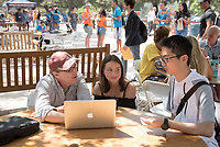 Tom Slotten, Non-Tenure Track Assistant Professor, Theater. Individual faculty advising appointments in the Academic Quad for incoming first-years at the start of Occidental College's Fall Orientation for the class of 2021, Aug. 25, 2017.<br /> (Photo by Marc Campos, Occidental College Photographer)