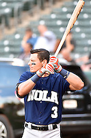 Derek Dietrich (3) of the New Orleans Zephyrs before the game against the Salt Lake Bees in Pacific Coast League action at Smith's Ballpark on August 27, 2014 in Salt Lake City, Utah.  (Stephen Smith/Four Seam Images)