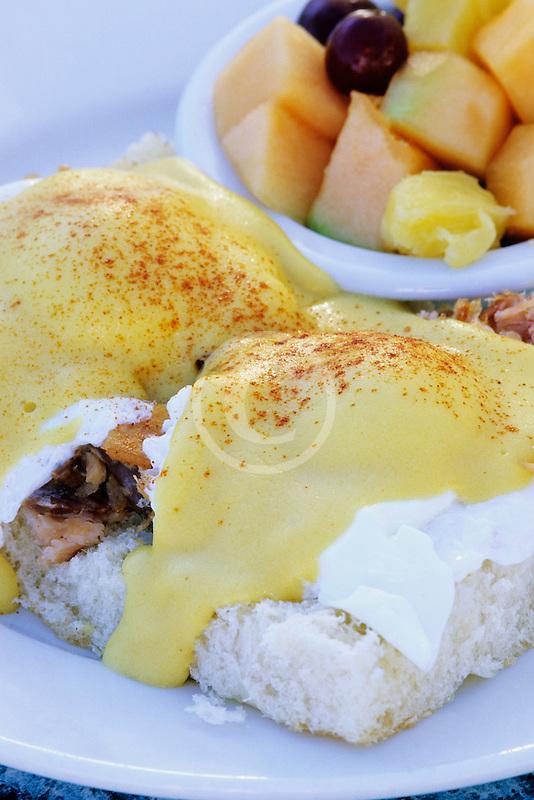 California, Santa Cruz, Eggs Benedict with Salmon