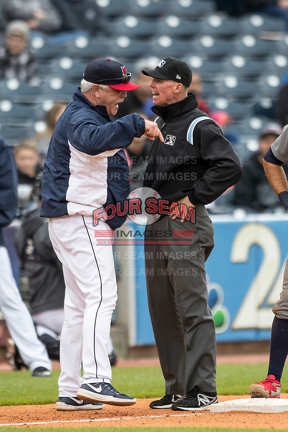 Toledo Mud Hens Mike Rojas (19) argues with umpire Chris Graham during the International League baseball game on April 30, 2017 at Fifth Third Field in Toledo, Ohio. Toledo defeated Lehigh Valley 6-4. (Andrew Woolley/Four Seam Images)