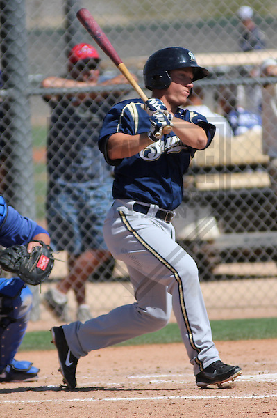 GLENDALE - March 2013: T.J. Mittelstaedt  of the Milwaukee Brewers during a Spring Training game against the Los Angeles Dodgers on March 22, 2013 at Camelback Ranch in Glendale, Arizona.  (Photo by Brad Krause). .