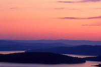 Spectacular sunset across Rosario Strait, from high atop Eagle Cliff, Cypresss Island, San Juan Islands, Washington