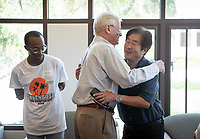 Campus tour and luncheon with alumni Kevin and Lynette Payne '72, Lynn Hoffman '72, Jimmy Kwok '73, Jordan Walker '21 and professors Woody Studenmund and Lesley Chiou, Aug. 19, 2019.<br /> (Photo by Marc Campos, Occidental College Photographer)