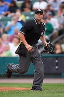 Umpire David Soucy gets in position on a foul ball pop up during a Rochester Red Wings against the Buffalo Bisons on July 8, 2015 at Frontier Field in Rochester, New York.  Rochester defeated Buffalo 6-5.  (Mike Janes/Four Seam Images)