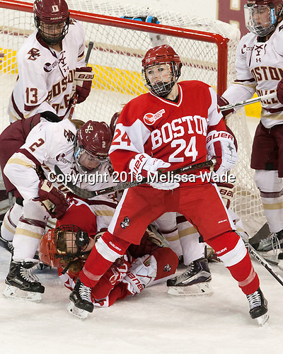 Haley McLean (BC - 13), Grace Bizal (BC - 2), Maddie Elia (BU - 14), Mary Grace Kelley (BU - 24), Toni Ann Miano (BC - 18) - The Boston College Eagles defeated the visiting Boston University Terriers 5-3 (EN) on Friday, November 4, 2016, at Kelley Rink in Conte Forum in Chestnut Hill, Massachusetts.The Boston College Eagles defeated the visiting Boston University Terriers 5-3 (EN) on Friday, November 4, 2016, at Kelley Rink in Conte Forum in Chestnut Hill, Massachusetts.