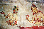 Sigiriya, Sri Lanka. Part of the frescoes on the exterior of Sigiriya (Lion's Rock) fortress in central Matale district of Sri Lanka.