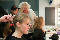 """Hairdressing before the show.  Special Olympics Surrey put on a show,   """"Beyond the Stars"""", at the Rose Theatre, Kingston upon Thames to raise money for the  SOGB team.  The Special Olympics are for athletes with learning disabilities."""