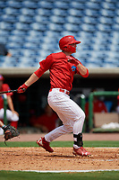 Clearwater Threshers designated hitter Cord Sandberg follows through on a swing during the first game of a doubleheader against the Lakeland Flying Tigers on June 14, 2017 at Spectrum Field in Clearwater, Florida.  Lakeland defeated Clearwater 5-1.  (Mike Janes/Four Seam Images)