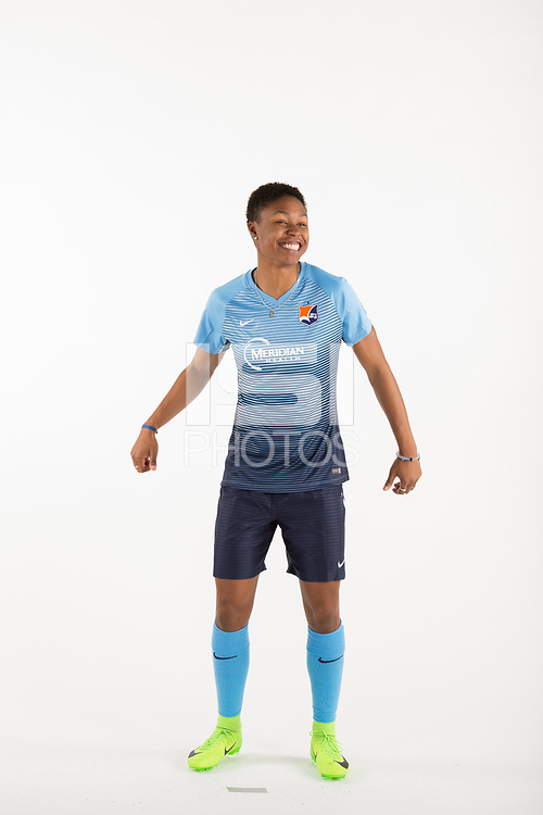 Belmar, NJ - Wednesday March 29, 2017: Maya Hayes poses for photos at the Sky Blue FC team photo day.