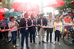 A wet start as the ribbon is cut for the start of Stage 10 of the 2017 La Vuelta, running 164.8km from Caravaca A&ntilde;o Jubilar 2017 to ElPozo Alimentaci&oacute;n, Spain. 29th August 2017.<br /> Picture: Unipublic/&copy;photogomezsport | Cyclefile<br /> <br /> <br /> All photos usage must carry mandatory copyright credit (&copy; Cyclefile | Unipublic/&copy;photogomezsport)
