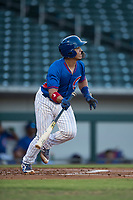 AZL Cubs catcher Henderson Perez (8) starts down the first base line during an Arizona League game against the AZL Brewers at Sloan Park on June 29, 2018 in Mesa, Arizona. The AZL Cubs 1 defeated the AZL Brewers 7-1. (Zachary Lucy/Four Seam Images)