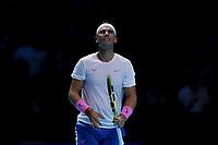 15th November 2019; 02 Arena. London, England; Nitto ATP Tennis Finals; Rafael Nadal (Spain) reacts as his shot goes long - Editorial Use
