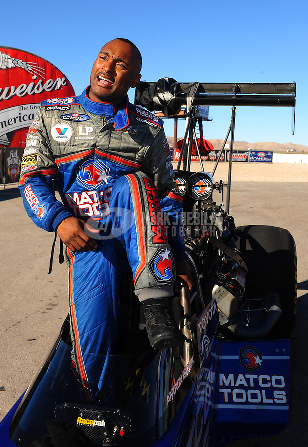 Apr. 13, 2008; Las Vegas, NV, USA: NHRA top fuel dragster driver Antron Brown after losing in the final round of the SummitRacing.com Nationals at The Strip in Las Vegas. Mandatory Credit: Mark J. Rebilas-