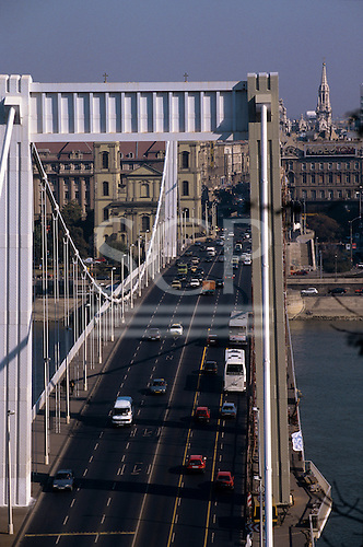 Budapest, Hungary. Bridge over the River Danube with traffic.