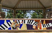 The musical tile mosaic at the band stand at South Gate Park, seen head on.