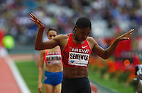 08 JUL 2011 - PARIS, FRA - Caster Semenya celebrates winning the women's 800m race at the Meeting Areva round of the Samsung Diamond League (PHOTO (C) NIGEL FARROW)