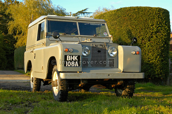 Historic 1963 Landrover Series 2a hardtop in very original and full working condition on a farm in Dunsfold, UK 2004. --- No releases available. Automotive trademarks are the property of the trademark holder, authorization may be needed for some uses.
