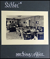 BNPS.co.uk (01202 558833)<br /> Pic: DavidDuggleby/BNPS<br /> <br /> Hitlers office - Inside the Berghof in Berchtesgaden.<br /> <br /> This amazing photo album reveals the close knit alpine community where Hitler and his henchmen worked and played.<br /> <br /> The album was brought back to Britain by a British administrator of the railways in post war Germany and reveals the cosy living arrangements of the high ranking Nazi's of Hitlers Third Reich.<br /> <br /> It shows the homes of Hitler, Martin Boorman and Hermann Goering in tiny Berchtesgaden in Bavaria, and also the infamous Eagles Nest on a mountain top nearby where the evil dictator would dream his dreams whilst taking in the stunning vista.<br /> <br /> The unique album is being sold by David Duggleby auctioneers in Scarborough on the 7th October.