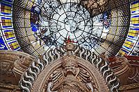 Upward view of interior of Erawan Museum in Samut Prakan, southeast of Bangkok, Thailand.