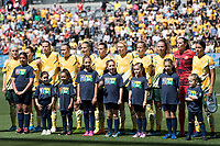 9th November 2019; Bankwest Stadium, Parramatta, New South Wales, Australia; International Womens Friendly Football, Australia versus Chile; Australia during the national anthem - Editorial Use