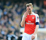 Arsenal's Per Mertesacker looks on dejected at the final whistle during the Emirates FA Cup match at The Emirates Stadium.  Photo credit should read: David Klein/Sportimage