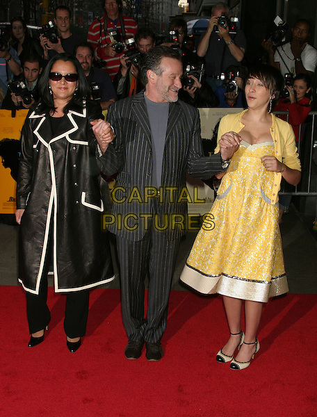 "MARSHA GARCES WILLIAMS, ROBIN WILLIAMS & ZELDA WILLIAMS.""House Of D"" New York Film Premiere, New York City, USA, April 10th 2005..full length yellow dress holding hands family daughter father mother married husband wife.Ref: IW.www.capitalpictures.com.sales@capitalpictures.com.©Ian Wilson/Capital Pictures."
