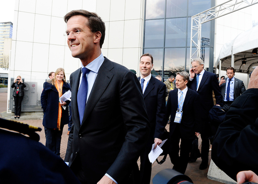 Nederland, Den Haag, 25 march 2014<br /> NSS 2014<br /> Rutte onderweg naar afsluitende persconferentie met Premier Mark Rutte en President Barrack Obama.<br /> Closing press conference of NSS 2014 with prime minister Mark Rutte and President Barrack Obama.<br /> Foto (c) Michiel Wijnbergh