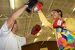 Pix: Shaun Flannery/sf-pictures.com....COPYRIGHT PICTURE>>SHAUN FLANNERY>01302-570814>>07778315553>>..7th July 2008..........Year 8 Vocational Day, McAuley School, Cantley..Personal Trainer Ross Stafford with Bethan Rees.