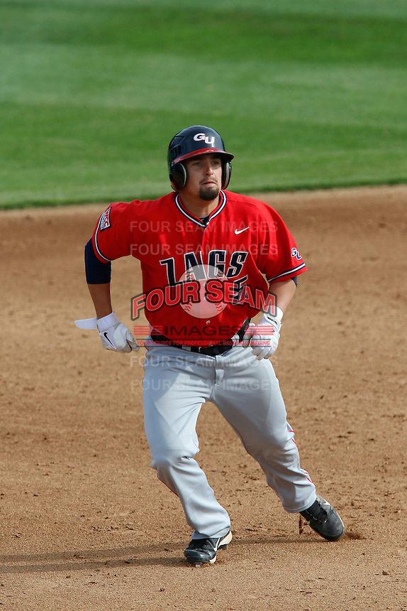 Clayton Eslick #5 of the Gonzaga Bulldogs runs the bases during a game against the Loyola Marymount Lions at Page Stadium on March 28, 2013 in Los Angeles, California. (Larry Goren/Four Seam Images)