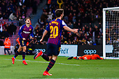 30th January 2019, Camp Nou, Barcelona, Spain; Copa del Rey football, quarter final, second leg, Barcelona versus Sevilla; Philippe Coutinho of FC Barcelona celebrates as he scores his side's 3rd goal in  minute 52