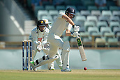 November 4th 2017, WACA Ground, Perth Australia; International cricket tour, Western Australia versus England, day 1; Dawid Malan comes down the wicket to play a defensive shot during his innings
