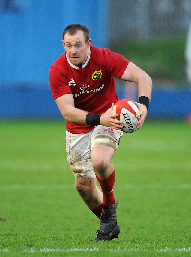 Munster A Shane Buckley in action during todays match<br /> <br /> Photographer Ian Cook/CameraSport<br /> <br /> Rugby Union - British and Irish Cup Pool 3 - Ospreys Premiership Select v Munster A - Sunday 20th December 2015 - Brewery Field, Bridgend<br /> <br /> &copy; CameraSport - 43 Linden Ave. Countesthorpe. Leicester. England. LE8 5PG - Tel: +44 (0) 116 277 4147 - admin@camerasport.com - www.camerasport.com