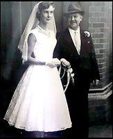 BNPS.co.uk (01202 558833)<br /> Pic:  PatJenkins/BNPS<br /> <br /> Pat with her father Albert on her wedding day in 1958.<br /> <br /> Britain's longest-serving butcher fears achievements like hers are headed for the chop thanks to the demise of the high street.<br /> <br /> Pat Jenkins, who has recently celebrated her 80th birthday, has been working as a butcher for 60 years after joining her father Albert Musselwhite in the family business in 1958.<br /> <br /> She learnt everything she knows on the job, at a time when female butchers were completely unheard of, and still runs Mason's in Bournemouth, Dorset, with her son Andrew, 55.<br /> <br /> But Pat says the struggling high street cannot recover and local butchers are a dying breed.<br /> <br /> Their shop on Christchurch Road was once one of 11 butchers on the three-mile stretch, but now they are the only one still going.
