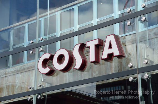 Costa cafe sign logo.