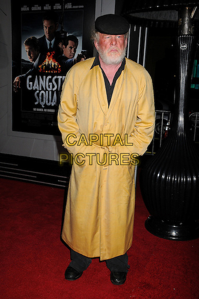 """Nick Nolte.""""Gangster Squad"""" Los Angeles Premiere held at Grauman's Chinese Theatre, Hollywood, California, USA..January 7th, 2013.full length coat jacket hands in pockets black flat cap hat beard facial hair collar shirt yellow.CAP/ADM/BP.©Byron Purvis/AdMedia/Capital Pictures."""