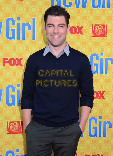 Max Greenfield.'New Girl' cast at screening and Q&A at Leonard H. Goldenson Theatre, North Hollywood, California, USA..7th May 2012.half length blue sweater jumper top grey gray trousers hands in pockets .CAP/ADM/BT.©Birdie Thompson/AdMedia/Capital Pictures.