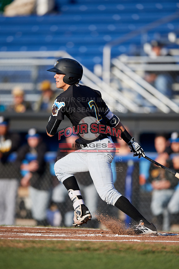 West Virginia Black Bears second baseman Tristan Gray (2) follows through on a swing during a game against the Batavia Muckdogs on August 5, 2017 at Dwyer Stadium in Batavia, New York.  Batavia defeated Williamsport 3-2.  (Mike Janes/Four Seam Images)