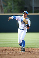 Chase Strumpf (33) of the UCLA Bruins makes a throw during a game against the California Bears at Jackie Robinson Stadium on March 25, 2017 in Los Angeles, California. UCLA defeated California, 9-4. (Larry Goren/Four Seam Images)
