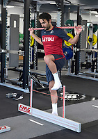 Swansea City's Mark Birighitti in the gym on his first day back for the new season.