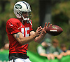 New York Jets quarterback Josh McCown #15 takes a snap during team practice at the Atlantic Health Jets Training Center in Florham Park, NJ on Sunday, July 29, 2018.