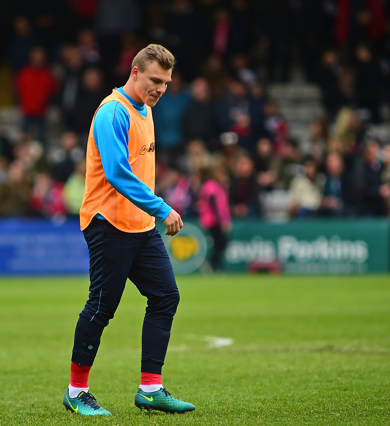 Lincoln City's Harry Anderson during the pre-match warm-up <br /> <br /> Photographer Andrew Vaughan/CameraSport<br /> <br /> Vanarama National League - Lincoln City v Torquay United - Friday 14th April 2016  - Sincil Bank - Lincoln<br /> <br /> World Copyright &copy; 2017 CameraSport. All rights reserved. 43 Linden Ave. Countesthorpe. Leicester. England. LE8 5PG - Tel: +44 (0) 116 277 4147 - admin@camerasport.com - www.camerasport.com
