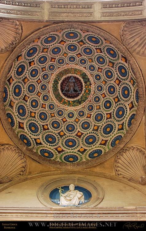Portico Dome Pazzi Chapel polychrome terracotta Luca della Robbia Santa Croce Florence