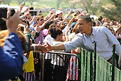 United States President Barack Obama greets guest on the South Lawn during the White House Easter Egg Roll in Washington on Monday, April 5, 2010.  .Credit: Roger L. Wollenberg / Pool via CNP