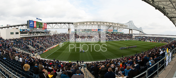 A multi image panorama during pre-game introductions. Sporting Kansas City defeated the Philadelphia Union 3-1 during a Major League Soccer (MLS) match at PPL Park in Chester, PA, on March 2, 2013.